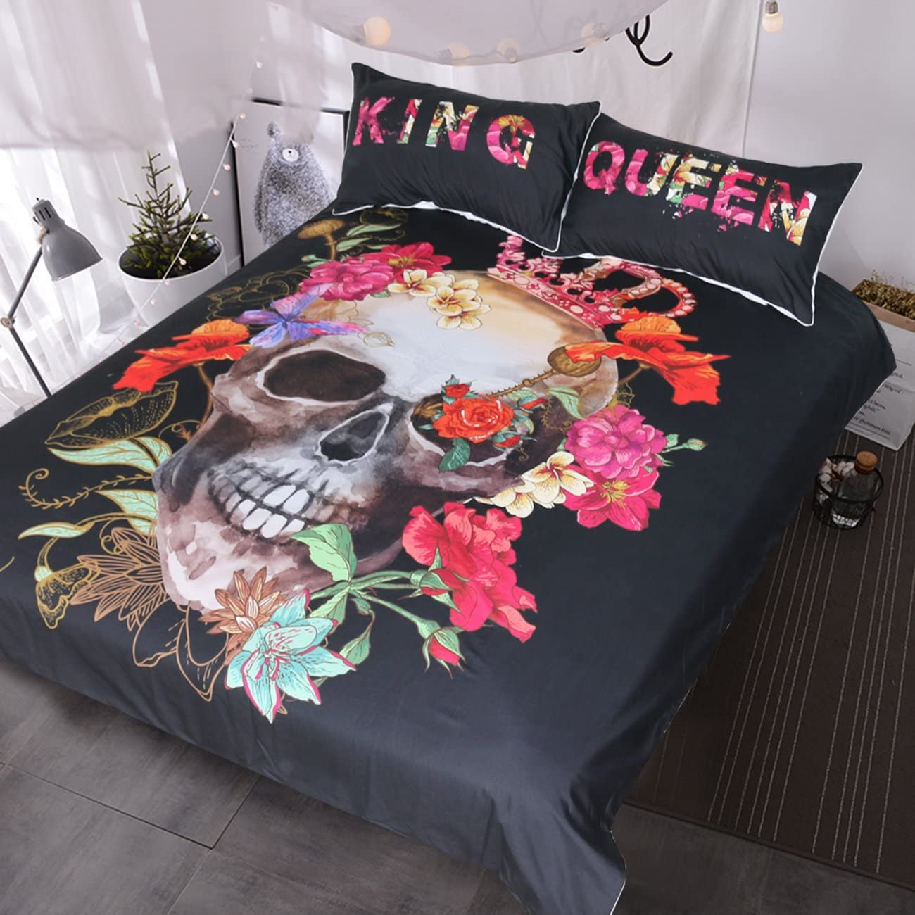 BlessLiving Skull Roses Bedding Queen Size 3 Pieces Sugar Skull Duvet Cover with 2 Queen and King Print Pillow Cases Couples Bedding Skull Bedset