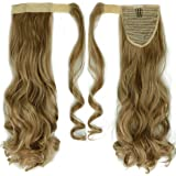 "Fashion Lady 17""(43cm) Curly Light Ash Brown Mix Bleach Blonde Wrap Around Ponytail Clip in Hair Extensions Pony Tail Popular Cosplay Style"