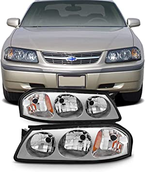 Amazon Com For 2000 2001 2002 2003 2004 2005 Chevy Impala Headlights Front Lamps Directly Replacement Left Right Automotive