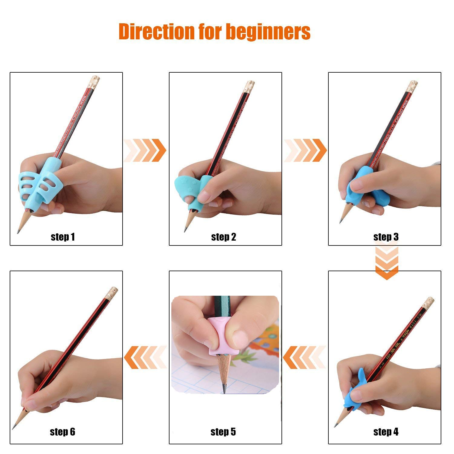 Pencil Writing Grips for Kids Handwriting 20 Pack Pencil Holder Utensils Pen Writing Aid Grip Posture Correction Tool with Comfortable Ergonomic Writing by Bomach (Image #8)