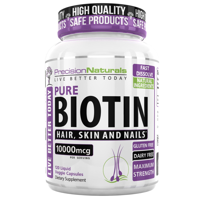 Biotin 10000mcg for Hair Growth Skin and Nails Formula Maximum Strength Liquid Capsules - Longer, Healthier and Stronger Hair and Nails 120 Veggie Capsules/Pills