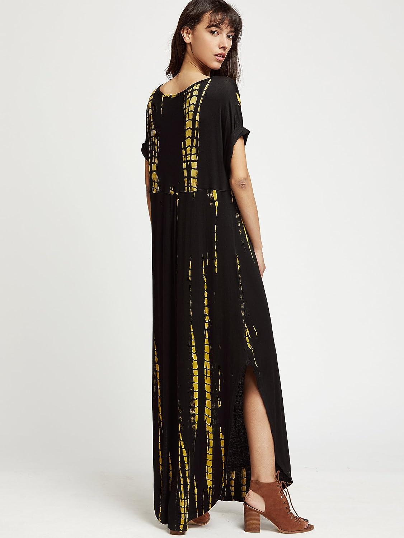 e95d28808a20 MAKEMECHIC Casual Maxi Short Sleeve Split Tie Dye Long Dress