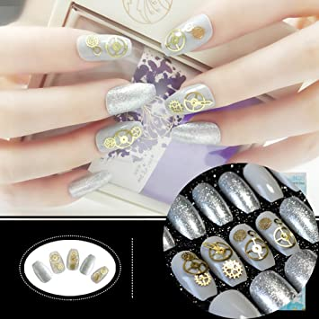 f283ac2ec2a8 Amazon.com   Jewel Nails Grey Shiny Coffin Nails Medium Gearwheel  Decoration Fake Nails Sparkly Silver Glitter Nail Art Tips for fingers Z910    Beauty
