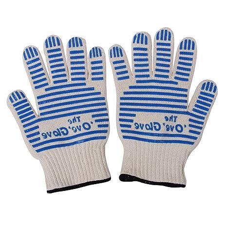 Kayla Qin 500 grados con aislamiento de alta temperatura Barbacoa guantes de silicona doble capa antideslizante