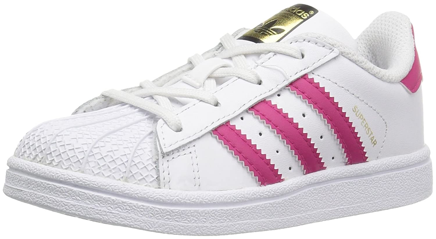 adidas Kids' Superstar Sneaker 9 M US Toddler|White/Bold Pink/White