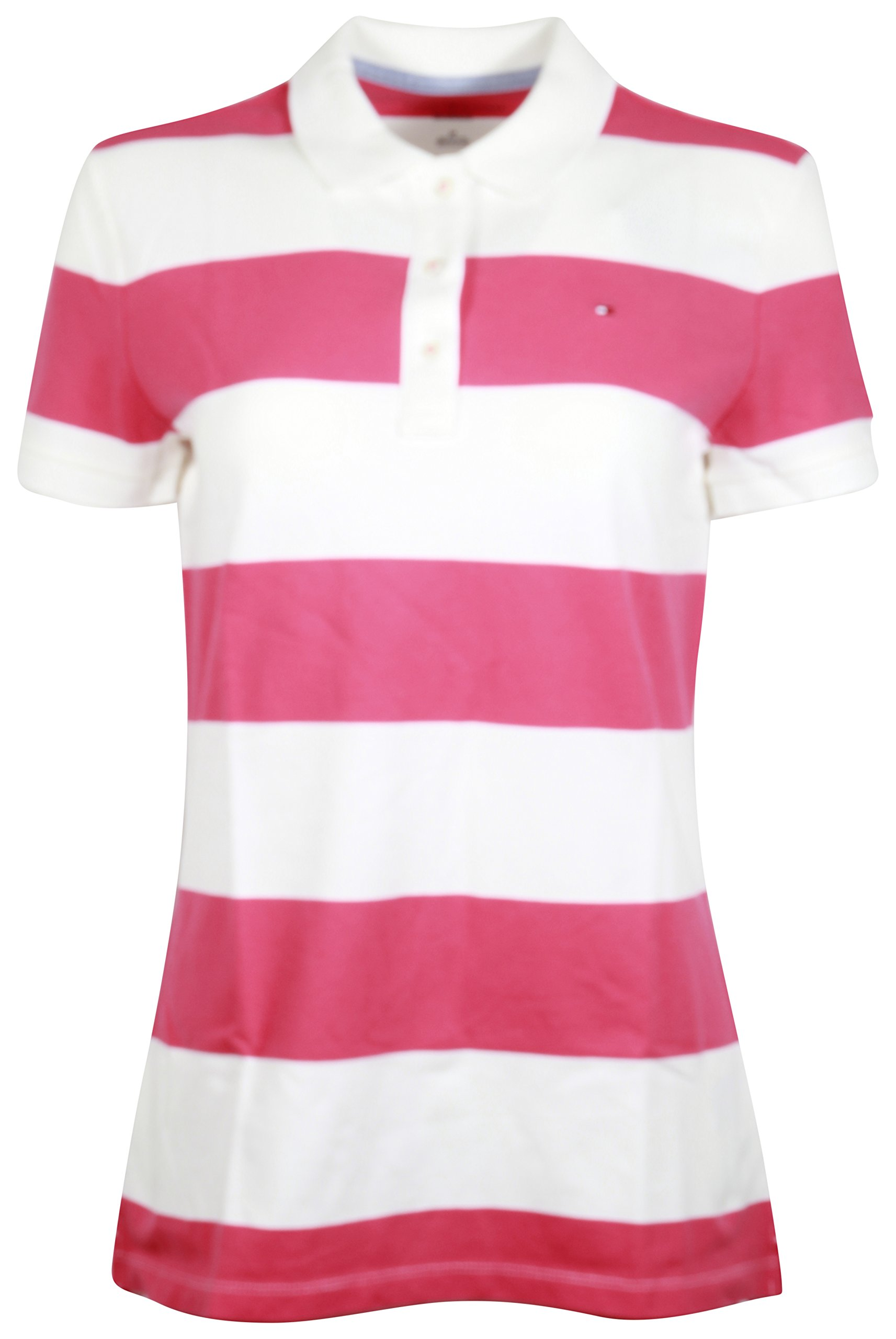 Tommy Hilfiger Women's Relaxed Fit Polo Shirt (X Small, PinkWhite)