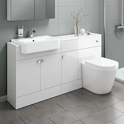 1500 Mm Gloss White Combined Vanity Unit Close Coupled Toilet