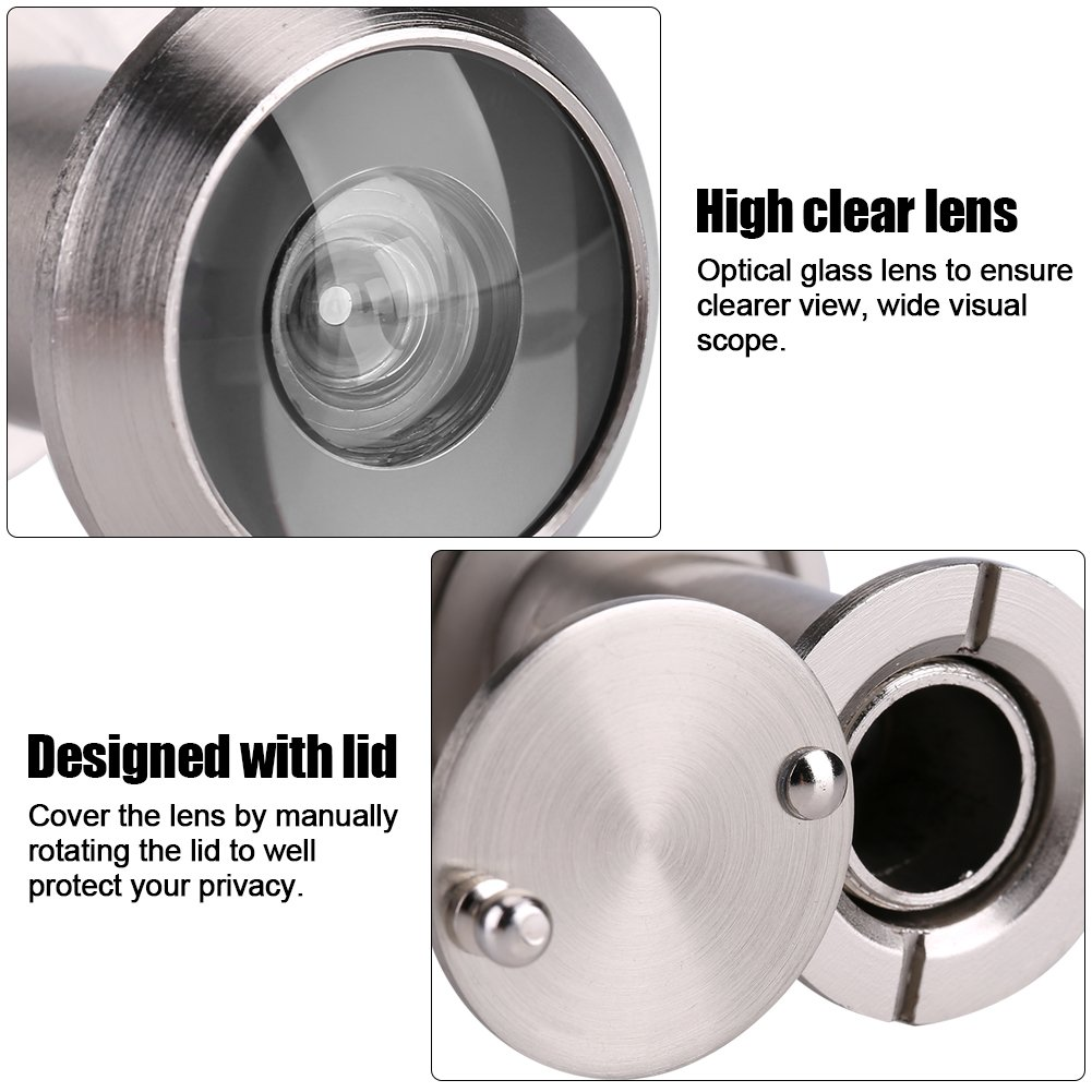 Cobre y Vidrio /óptico lyrlody Mirilla para Puerta de 16mm 1# Seguridad para Hojas de Puerta de 35-65 mm Angular de 200/° con Tapa