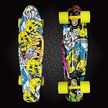 SHLYXY Longboard Retro Skateboard, 22Inch Plastic Mini ...