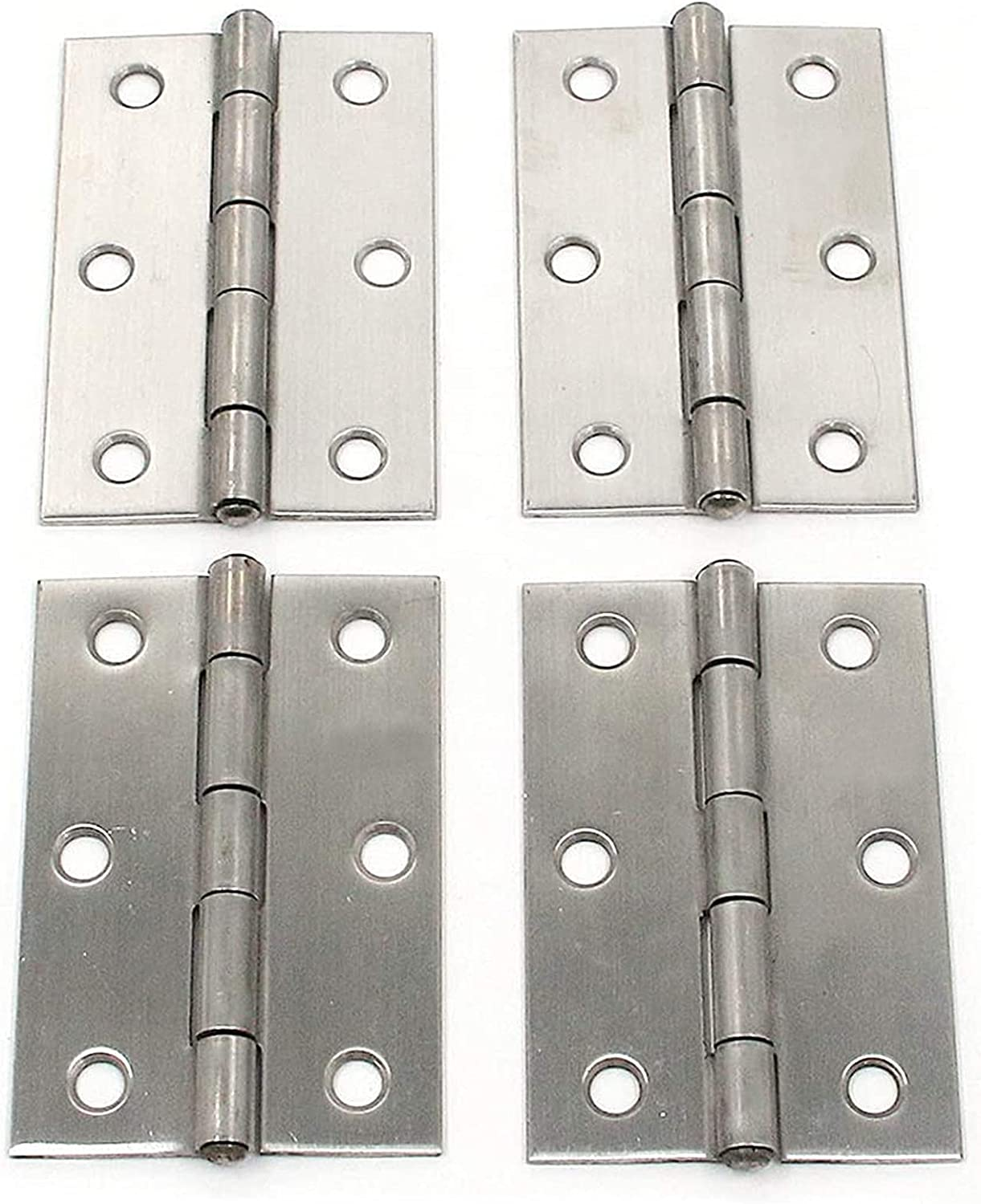 MY MIRONEY 3-Inch Long Hardware Stainless Steel Hinges Cabinet Butt Hinges Folding Door Hinge for Cabinet Gate Closet Jewelry Box Pack of 4