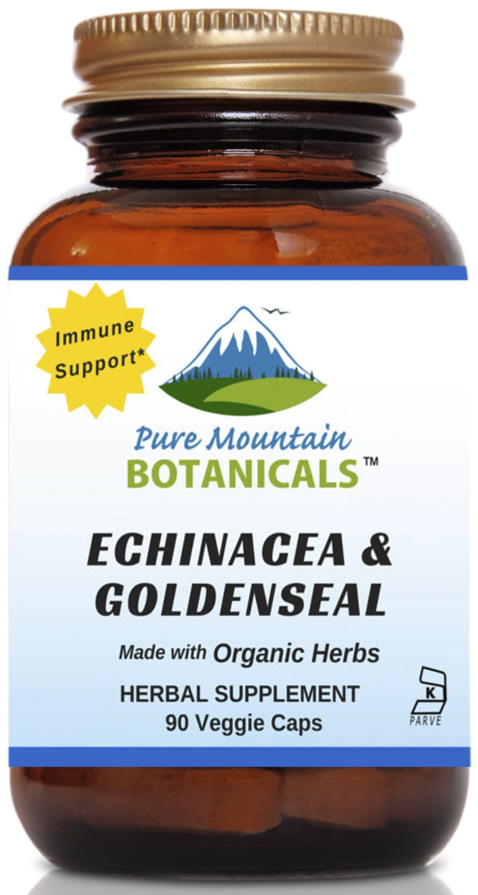 Echinacea Goldenseal Capsules - 90 Kosher Vegetarian Caps - Now with 450mg Organic Echinacea Goldenseal Complex - Nature's Gold Standard Supplement by Pure Mountain Botanicals