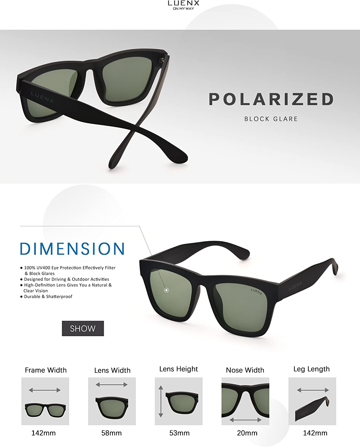 Mens Polarized Sunglasses for Womens UV 400 Protection Grey Green Lens Matte Black Frame 58MM,by LUENX with Case
