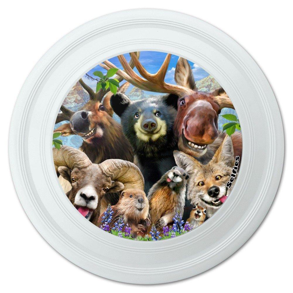 Graphiques & ☛ More Disque Volant pour Animal de Montagne Rocheuses Motif éléphants d'élan et bélier Beaver Fox 22,9 cm