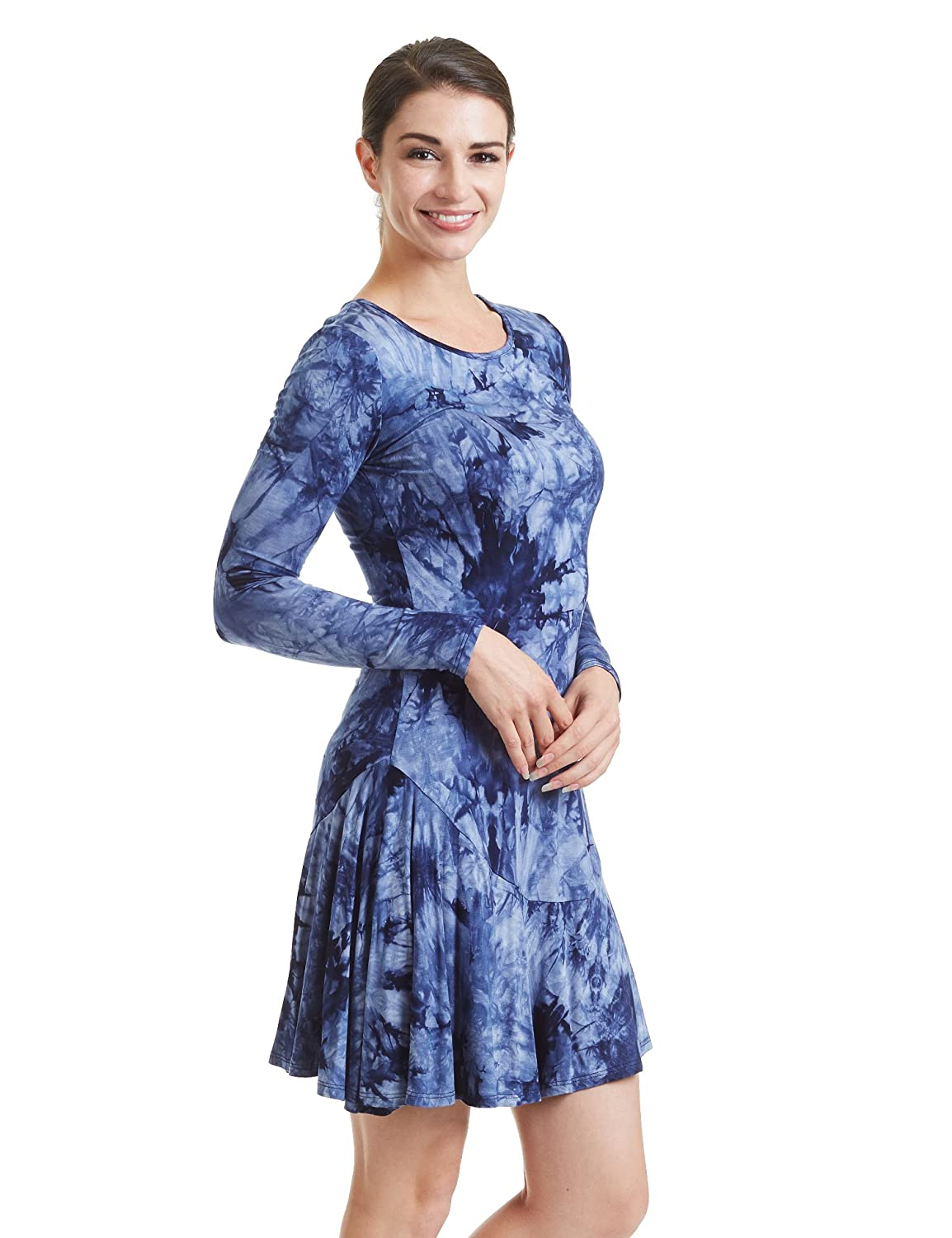f7fa1c7ef3 95% RAYON 5% SPANDEX Made in U.S.A.. Scoop neck long sleeve bottom ruffle  tie dye short dress. Soft fabric with stretch for comfort / Ruffle details  on ...