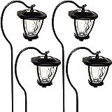 Fusion Solar LED Shepherds Hook Hanging Lantern Lights (Black, 4 Pack)