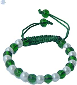 Unisex Bead Silk Threaded Bracelet cum Wrist Band, White/Green