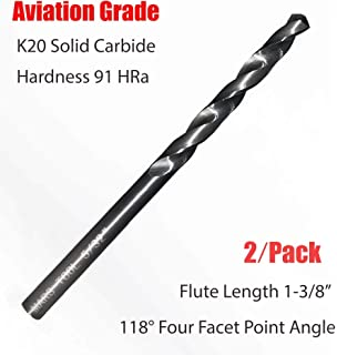 Uncoated Chicago Latrobe 769 Solid Carbide Short Length Drill Bit Finish 1//4 Size 140 Degree Converntional Point Bright Round Shank Straight Flute