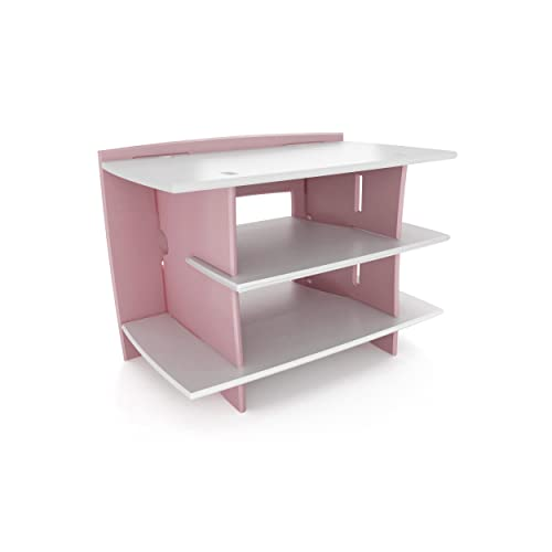 Legar Furniture Kids Gaming and TV Media Stand, Standard Storage Unit for Bedroom, Basement, and Playroom, Pink and White