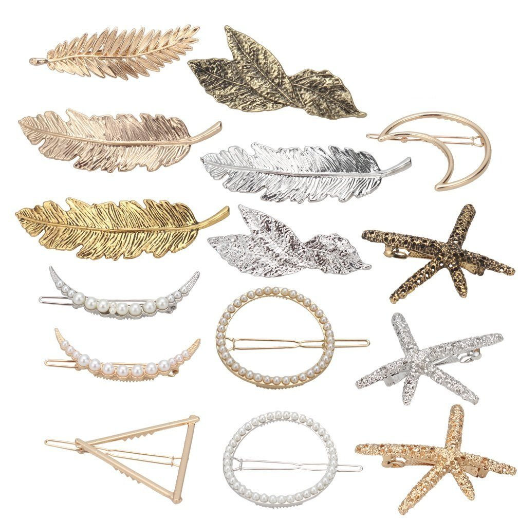 Jaciya 15pcs Minimalist Dainty Hair Clips Hollow Geometric Alloy Hairpin Clamps,Starfish, Leaf, Circle, Triangle and Moon Multiple Style