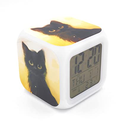 BoFy Led Alarm Clock Black Cat Kitty Pattern Personality Creative Noiseless Multi-Functional Electronic Desk Table Digital Alarm Clock for Unisex ...