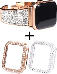 NewWays for Apple Watch Band and Case 40mm, 1 Crystal Band + 2 Cases