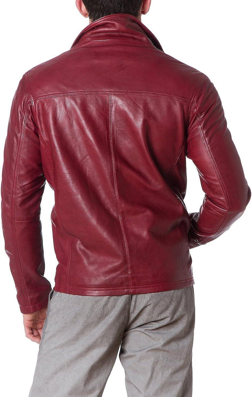 New Mens Genuine Lambskin Leather Slim Fit Biker Motorcycle Jacket for Men T413