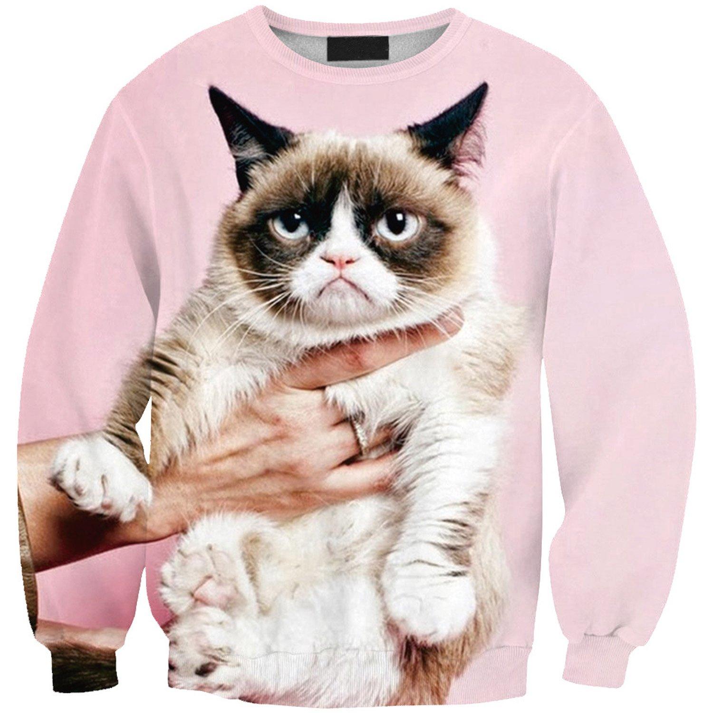 Lady Queen Women's Grumpy Cat 3d Print Sweatshirt Pullovers