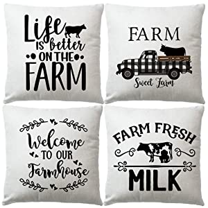"""Set of 4 Farmhouse Quote Throw Pillow Covers with Farm Sweet Farm Cushion Cover Retro Truck Cow Rustic Home Decor 18"""" x 18""""Pillowcases Welcome to Our Farmhouse (Truck Cow)"""