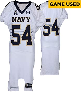 4b54d295966cb Amazon.com: Navy Midshipmen Game-Used #54 White Jersey with AAC ...