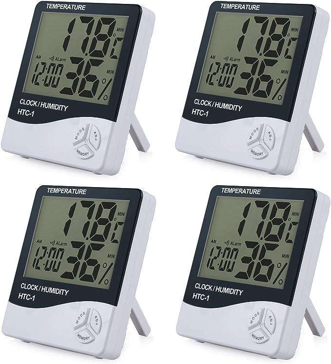 ESYNiC 4PZ 3 in 1 Igrometro Termometro Digitale con Display LCD Rilevatore Umidit/à Temperatura e Sistema di Display Tempo 12-ora 24-ora con Sveglia
