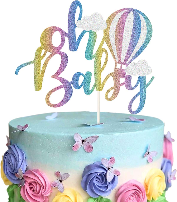 Oh Baby Hot Air Balloon Cake Topper 1st Birthday Kids Birthday Party Decor Supplies Rainbow Glitter Up /& Away Baby Shower Cake Decor