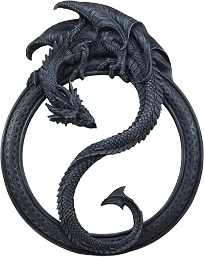 Ebros Feng Shui Yin Yang Harmony Celestial Black Dragon Wall Hanging Mirror Plaque Decor 19.5″ Tall Auspicious Vastu Home Decor Sculpture Decorative Mirrors Positive Energy Harmony Flow Talisman