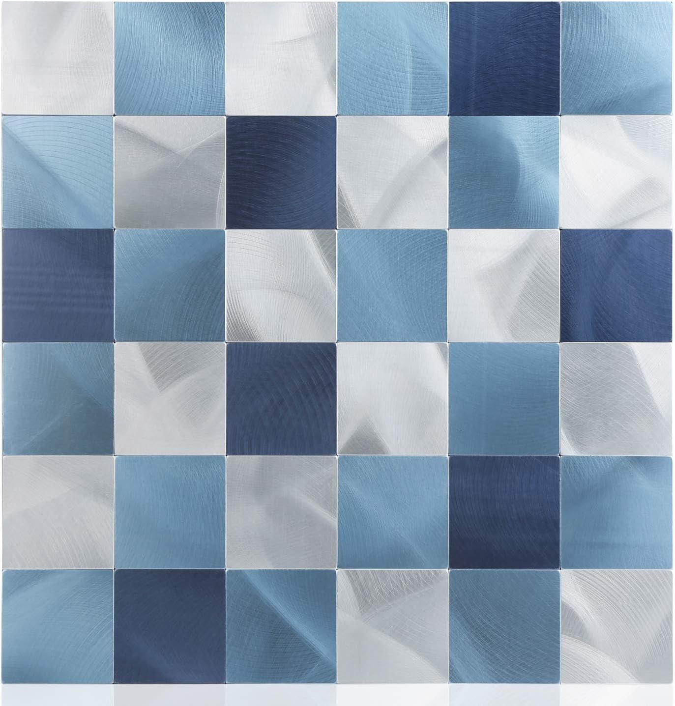 Amazon Com Homeymosaic Peel And Stick Backsplash Tile For Kitchen Aluminum Surface Wall Decor Metal Stickers Square 1 Sheet Gradient Dark Blue Home Improvement