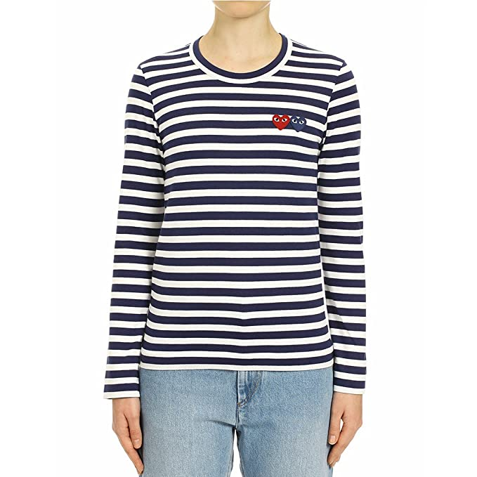 e67439bee13 Comme des Garcons Play Women s Double Heart Patch Striped LS T-Shirt P1T227  Navy (