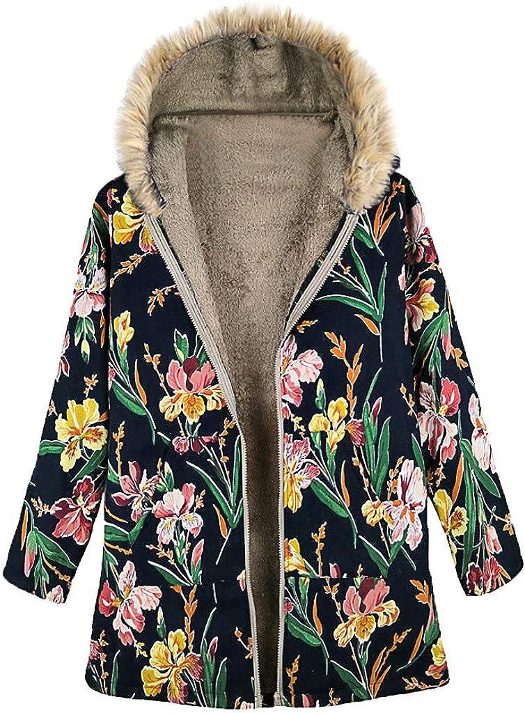 LUKALUKADA Womens Fur Collar Zipper and Velvet Printed Cardigan Long Button Warm Coat Outwear