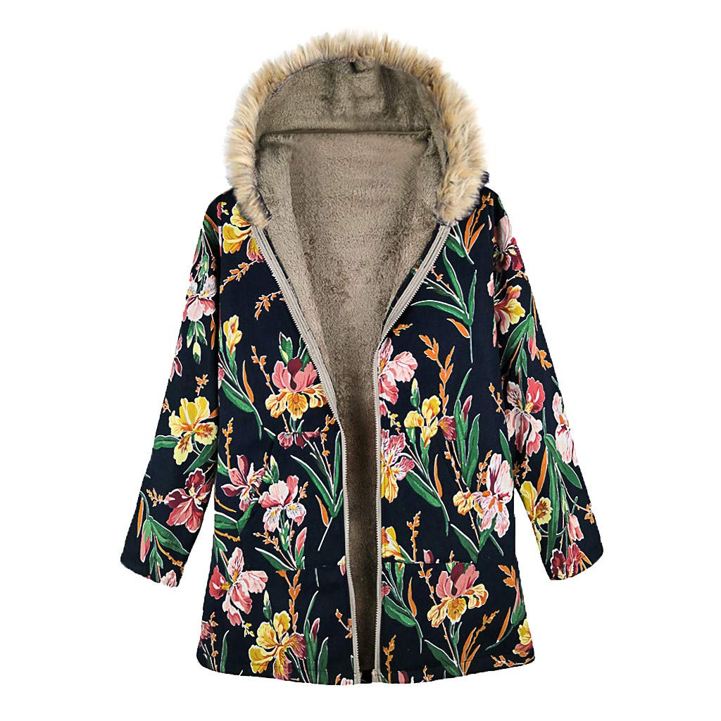 SEXYTOP Women Fur Terry Plush Lining Coat Winter Warm Vintage Floral Print Down Jacket Pockets Oversize Hooded Outwear by SEXYTOP