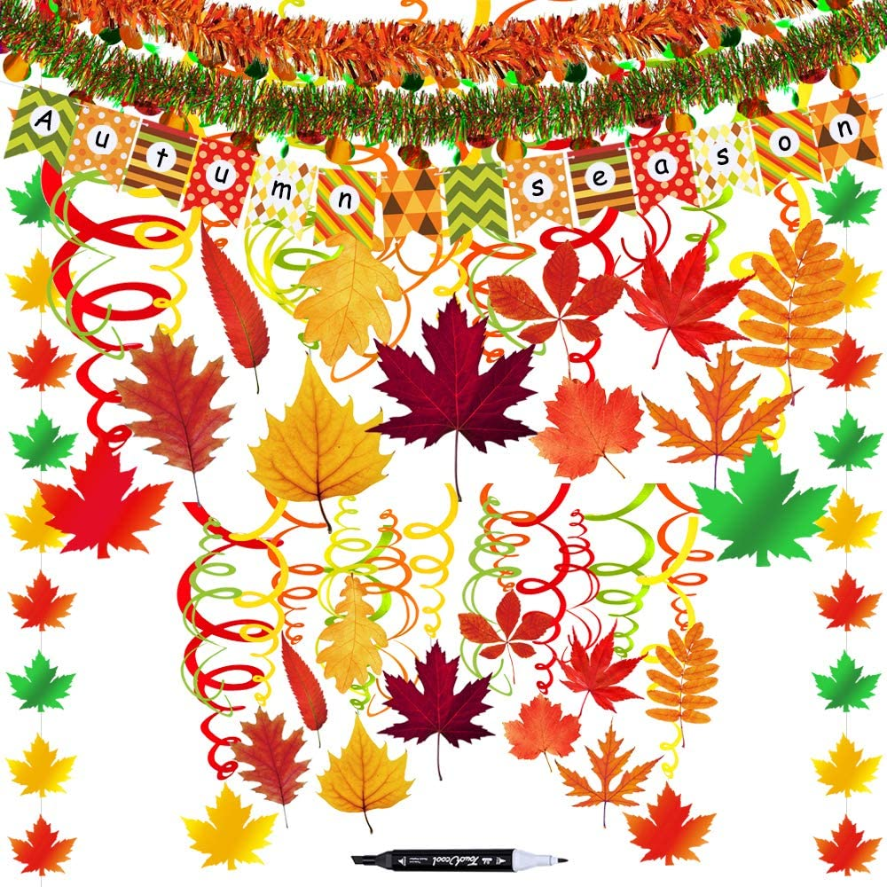 45 Pack Fall Party Swirls Hanging Foil Swirl Streamers with Foil Autumn Leaf Strings Fall Banner Tinsel Garland for Thanksgiving Halloween Birthday Bachelorette Wedding Ceiling Backdrop Decoration