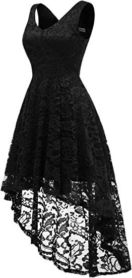 Women's Sleeveless Hi-Lo Lace Formal Dress