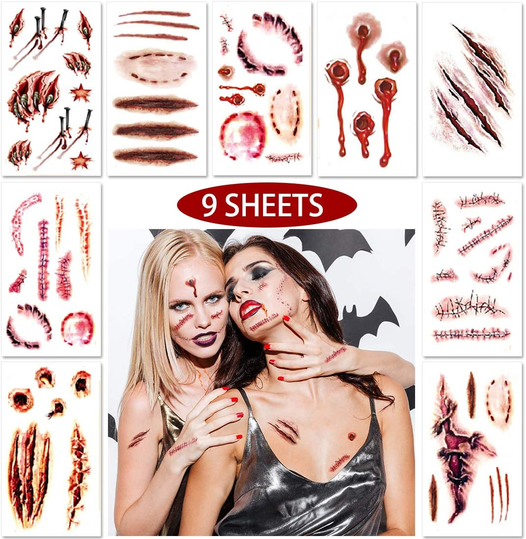 Halloween Temporary Scar Tattoos Sticker, 9 Sheets Realistic Fake Bloody Wound Scab Horror Body Face Decals Prank Props Costume Makeup Masquerade Cosplay Zombies Party Supplies Decor