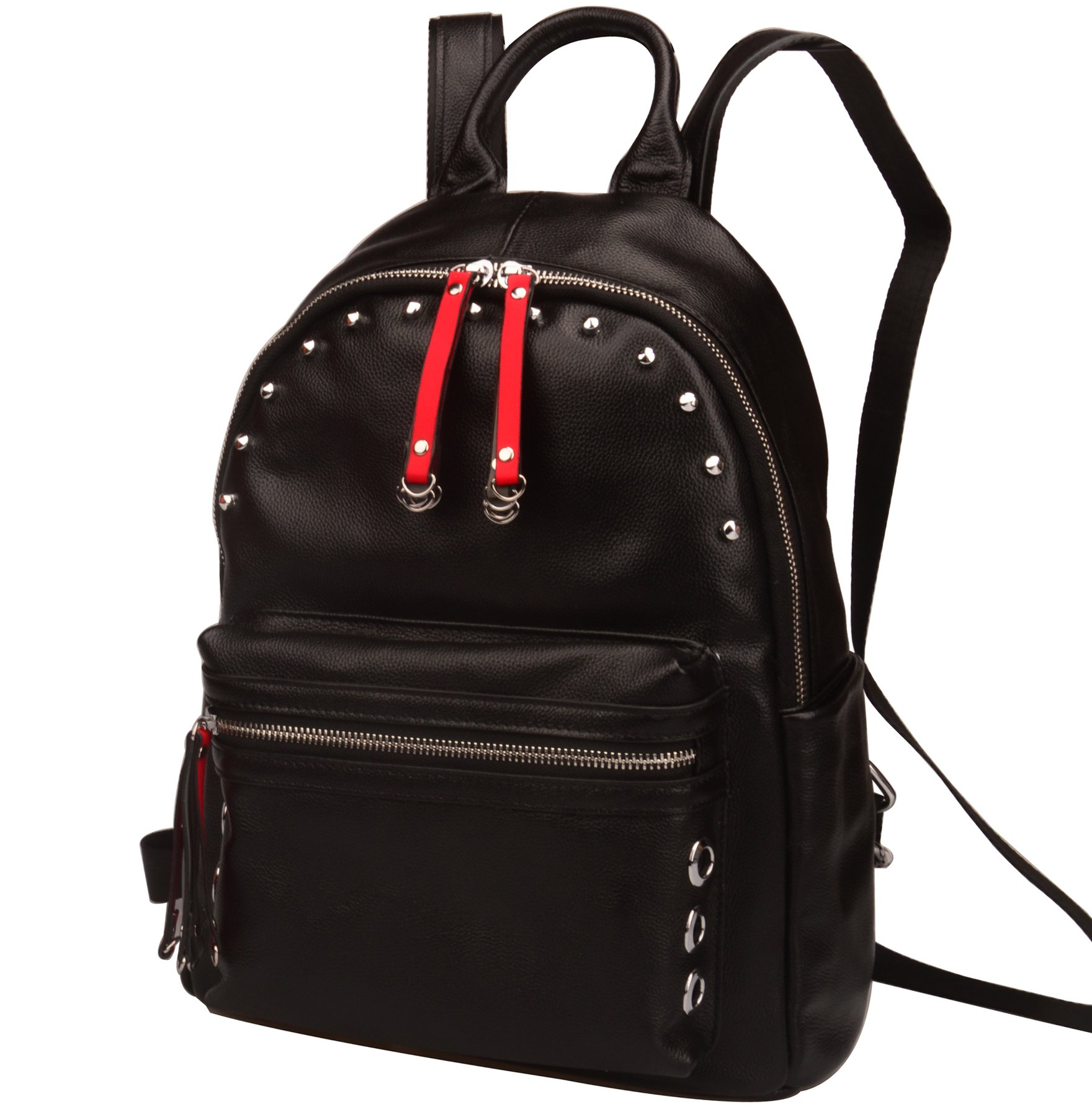 Fiswiss Women's Genuine Leather Fashion Backpack Everyday Purse (Black)