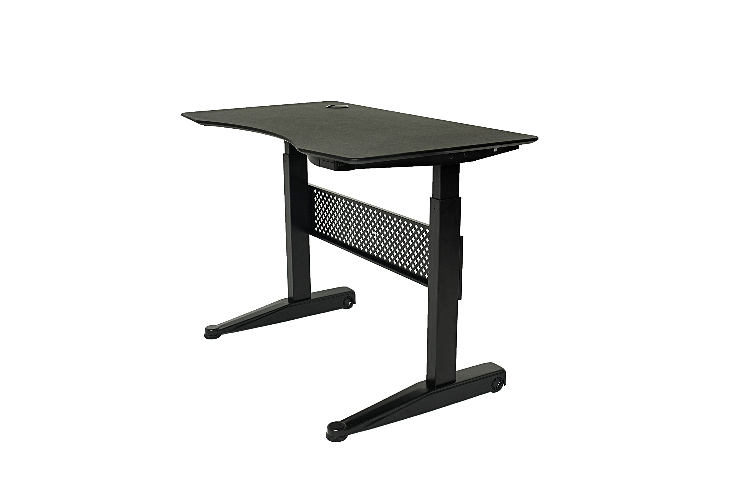 """ApexDesk AirDesk Series 47x27'' Movable Sit/Standing Desk, Pneumatic Height Adjustable from 29"""" to 48"""" (47x27'' Textured Black Top, Black Frame)"""