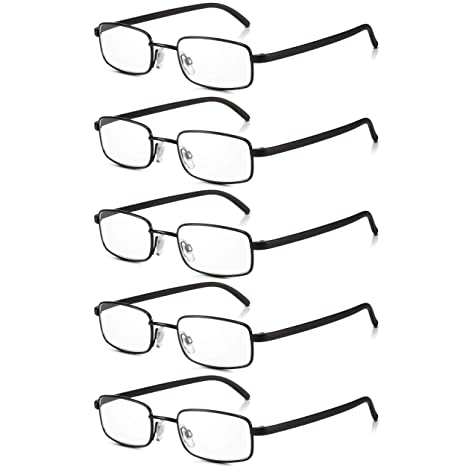 6954d1298370 Read Optics 5 Pack Black Framed Metal Reading Glasses for Men Women  Non-