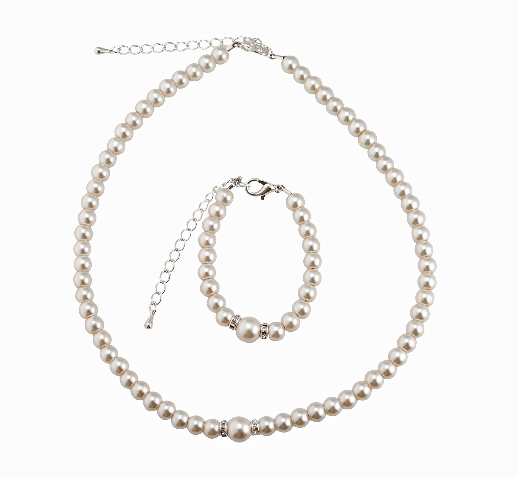Crystal Dream Elegant Cream Simulated Pearl Baby Girl Necklace and Bracelet Stylish Gift Set (GS-P-C_S)