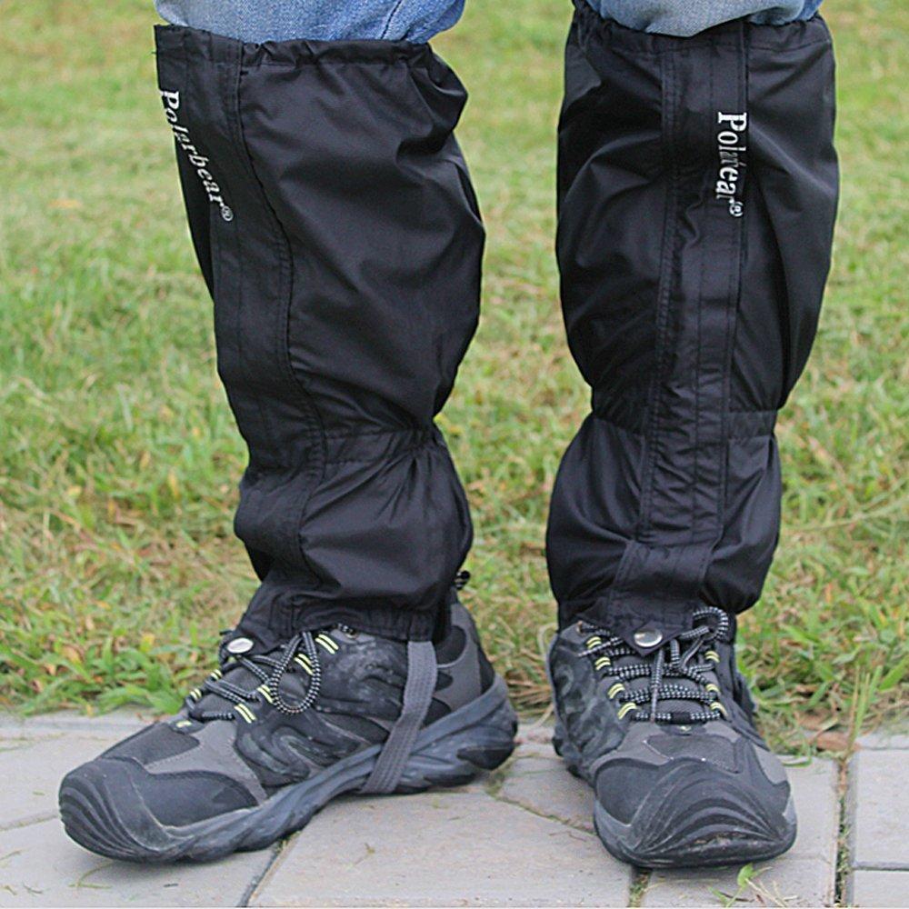 Lmeno 1 Pair Waterproof walking Gaiters Rain sand snow Anti-snake gaiters leg Covers Outdoor Hiking Climbing Snow Sand Legging Protection Guard--Black