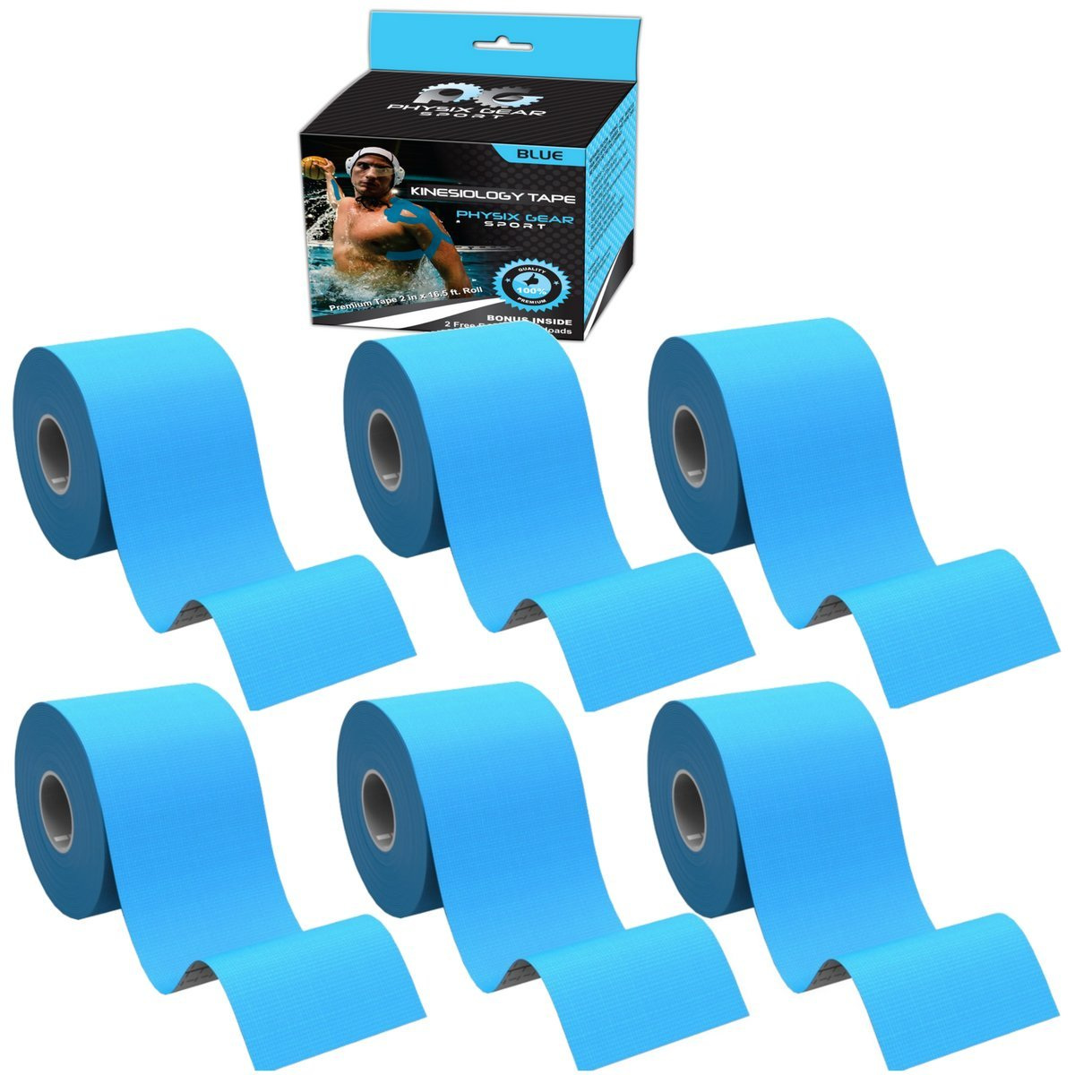 Physix Gear Sport 6 Pack Kinesiology Tape - Free Illustrated E-Guide - 16ft Uncut Roll - Best Pain Relief Adhesive for Muscles, Shin Splints Knee & Shoulder - 24/7 Waterproof Therapeutic Aid (Blue) by Physix Gear Sport (Image #2)