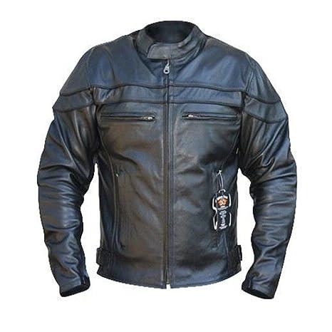 Australian Bikers Gear Chaqueta Sturgis Monza de moto para hombre en cuero con Protecciones TALLA 4XL