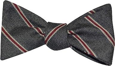 Self Tie Cotton Bow Tie Brown Blue White Plaid