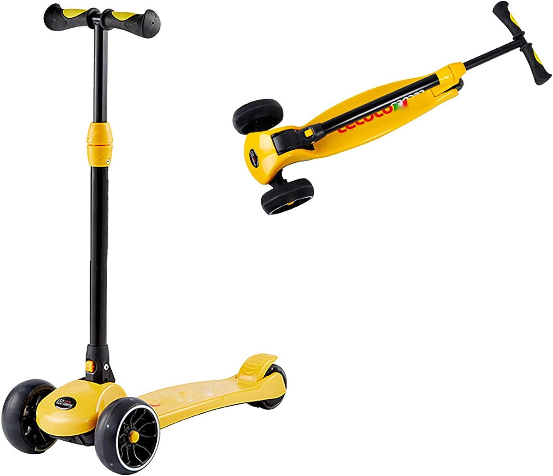 Patinete Plegable para niños, una Bicicleta de Pedal Avanzada de 3 Ruedas para niños pequeños de 3 a 12 años, Altura Ajustable, Ruedas Intermitentes, Plataforma Antideslizante, dirección de incli