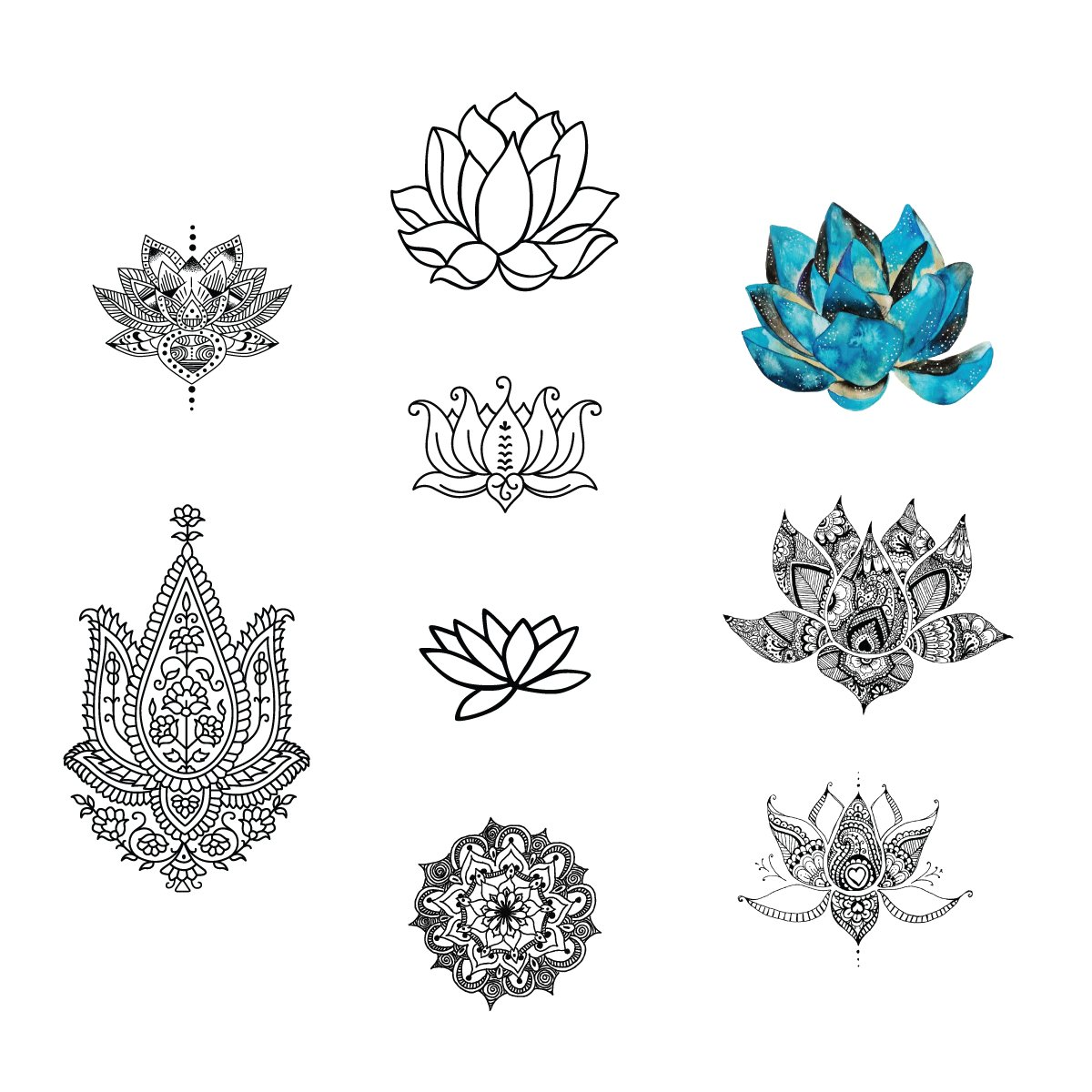 Amazon Tattify Assorted Lotus Flower Temporary Tattoos Body