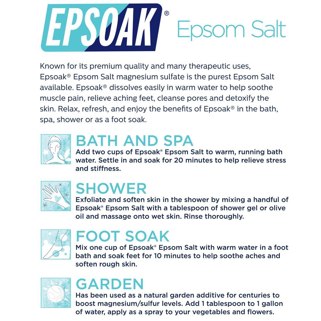 Amazon Epsoak Epsom Salt 10lbs Magnesium Sulfate USP Bath